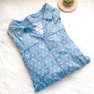 Style & Co. Paisley Print Chambray Button Down